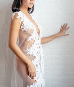 Limited Edition Tulle and Alençon Corded Lace Long Cover Wrap
