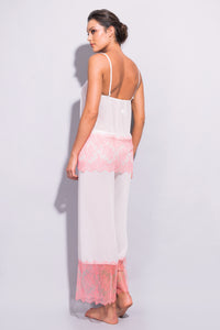 Orchid Georgette and Chantilly Lace Pantalons