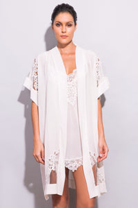 Calla Lily Silk Robe with Tulle and Guipure Lace