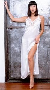 Limited Edition Silk Satin Charmeuse and French Cotton Lace Long Slip