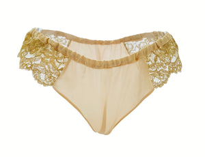 Holiday Silk and Gold Rush Lace Frou Frou Panties