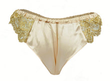 Load image into Gallery viewer, Holiday Silk and Gold Rush Lace Frou Frou Panties