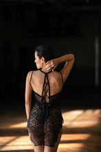 Load image into Gallery viewer, Inverness Polka Dot Nude Tulle and Lace Nightie with Lace Up Back