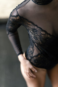 Edinburgh Long Sleeve Tulle and Floral Lace Bodysuit