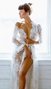 Limited Edition Long Floral Lace Robe with Silk Satin Belt