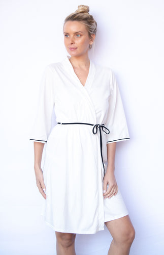 Organic Cotton Robe with Contrast Piping