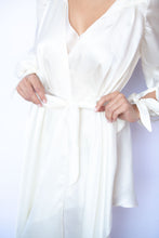Load image into Gallery viewer, Highlands Silk Satin Chiffon Victorian Silk Robe with Bishop Sleeves and Asymmetric Hem