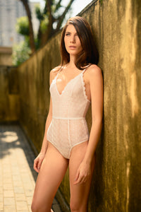 Berlin Geometric Lace Lined Bodysuit