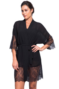 Orchid Chantilly Lace and Georgette Short Robe