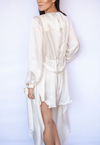 Highlands Silk Satin Chiffon Victorian Silk Robe with Bishop Sleeves and Asymmetric Hem