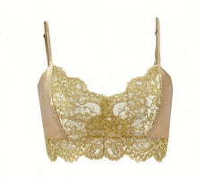 Load image into Gallery viewer, Holiday Silk and Gold Lace Soft Bralette