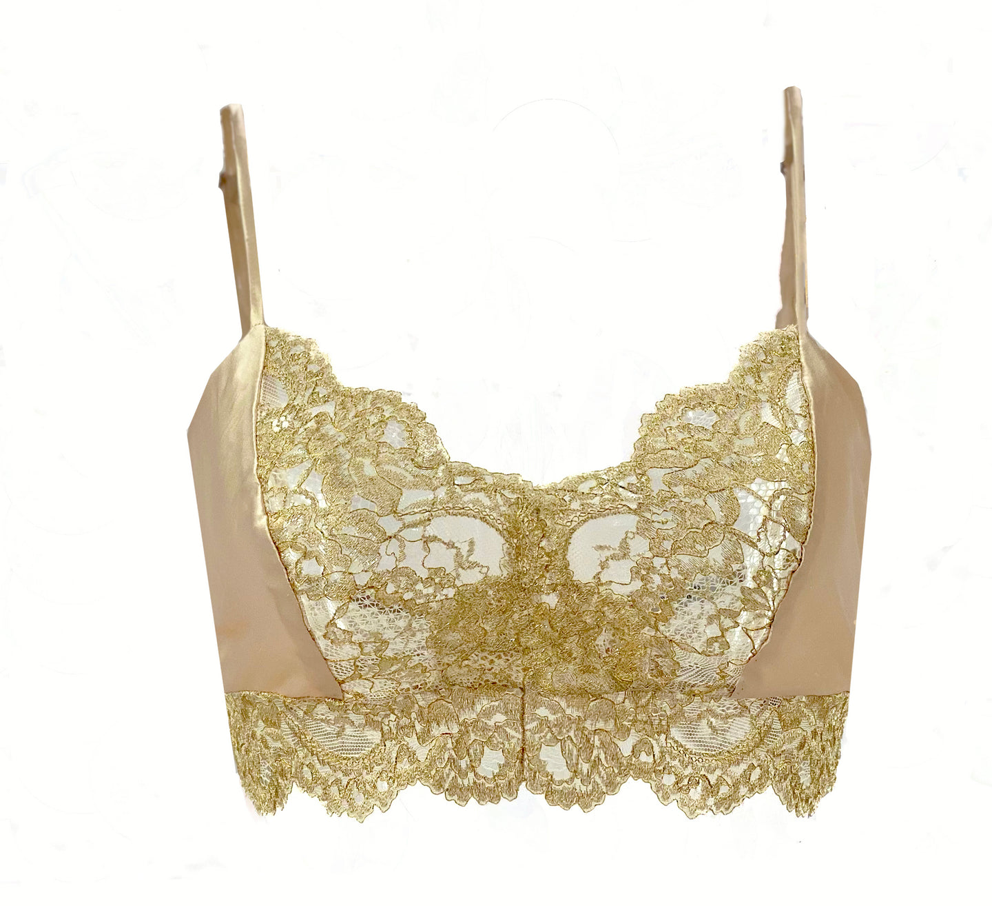 Holiday Silk and Gold Lace Soft Bralette