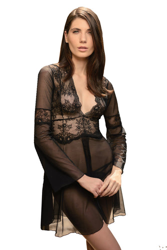 Milano Long Sleeve Tulle and Lace Nightgown