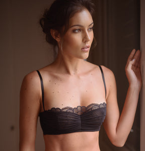 Paris Draped Tulle Soft Cup Underwire Balconette Bra