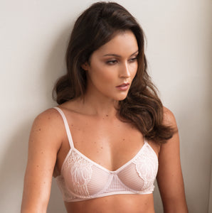 Petunia Lace and Stripe Tulle Soft Underwire Bra