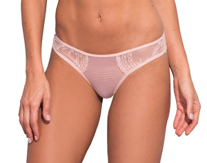 Petunia Lace and Stripe Tulle Tanga
