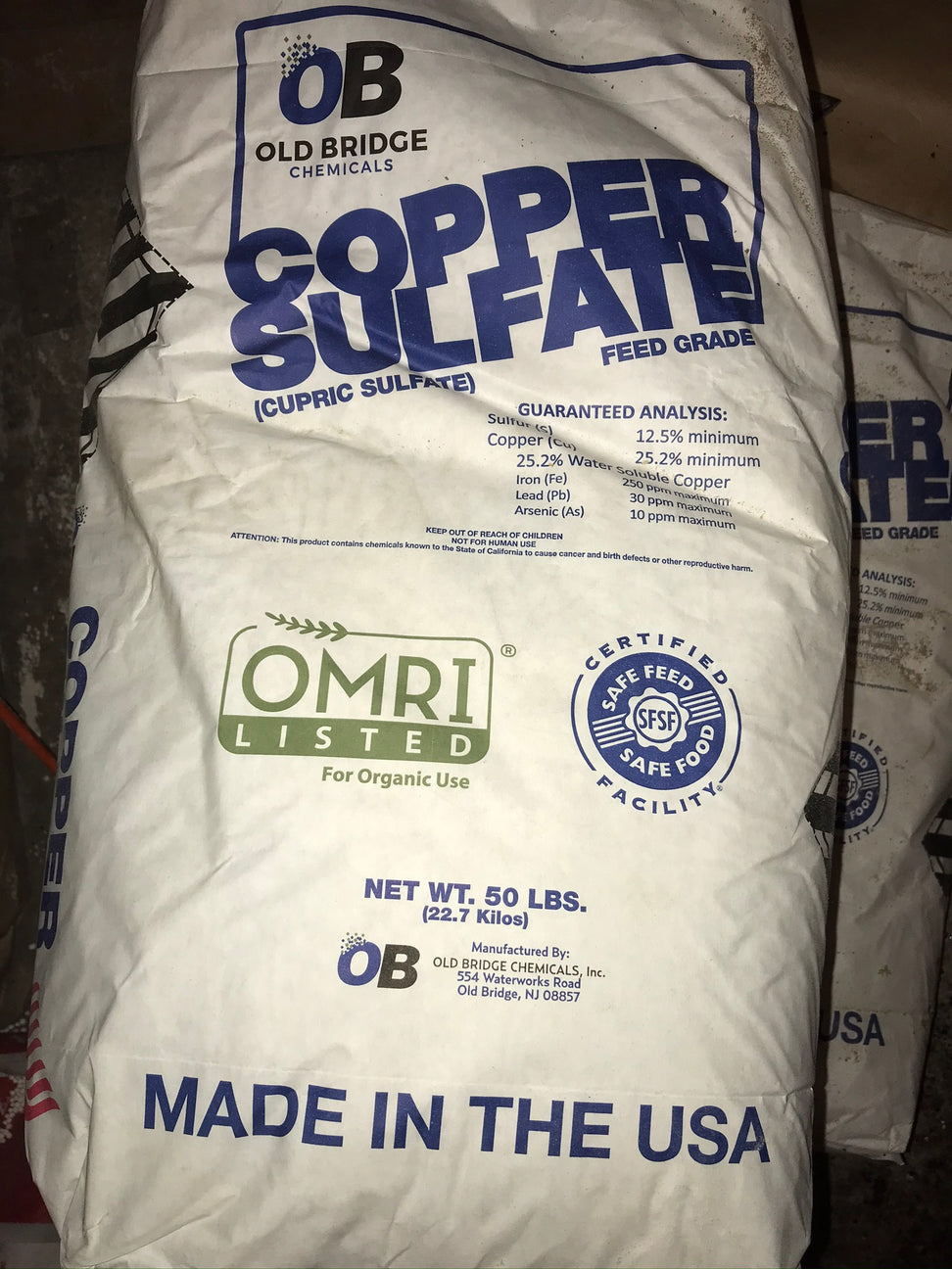 COPPER SULFATE powder OMRI listed