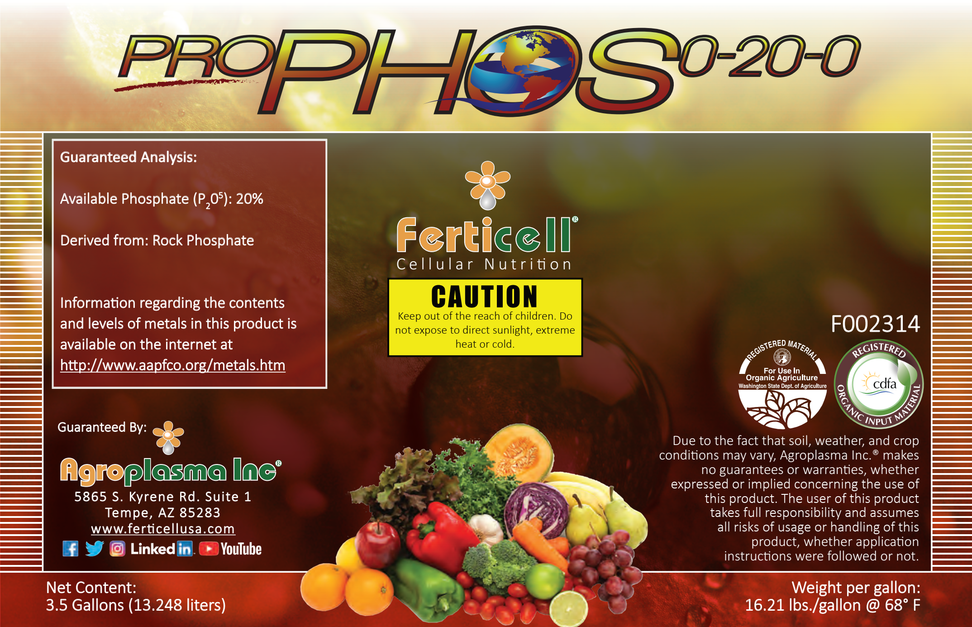 Ferticell Pro Phos 0-20-0 liquid Phosphorus WSDA Listed