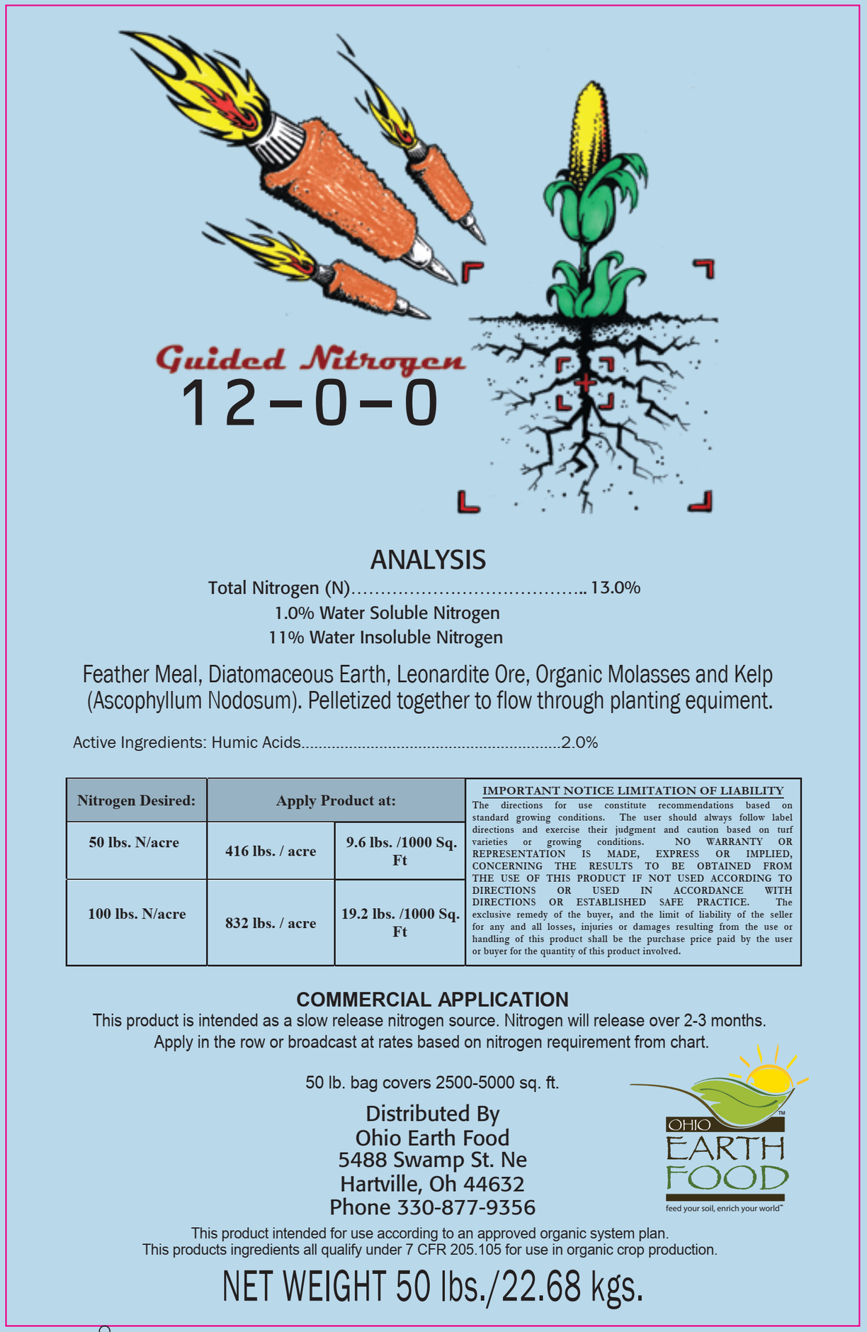 Guided Nitrogen 12-0-0 pelletized feather meal with kelp, humate and Diat. Earth
