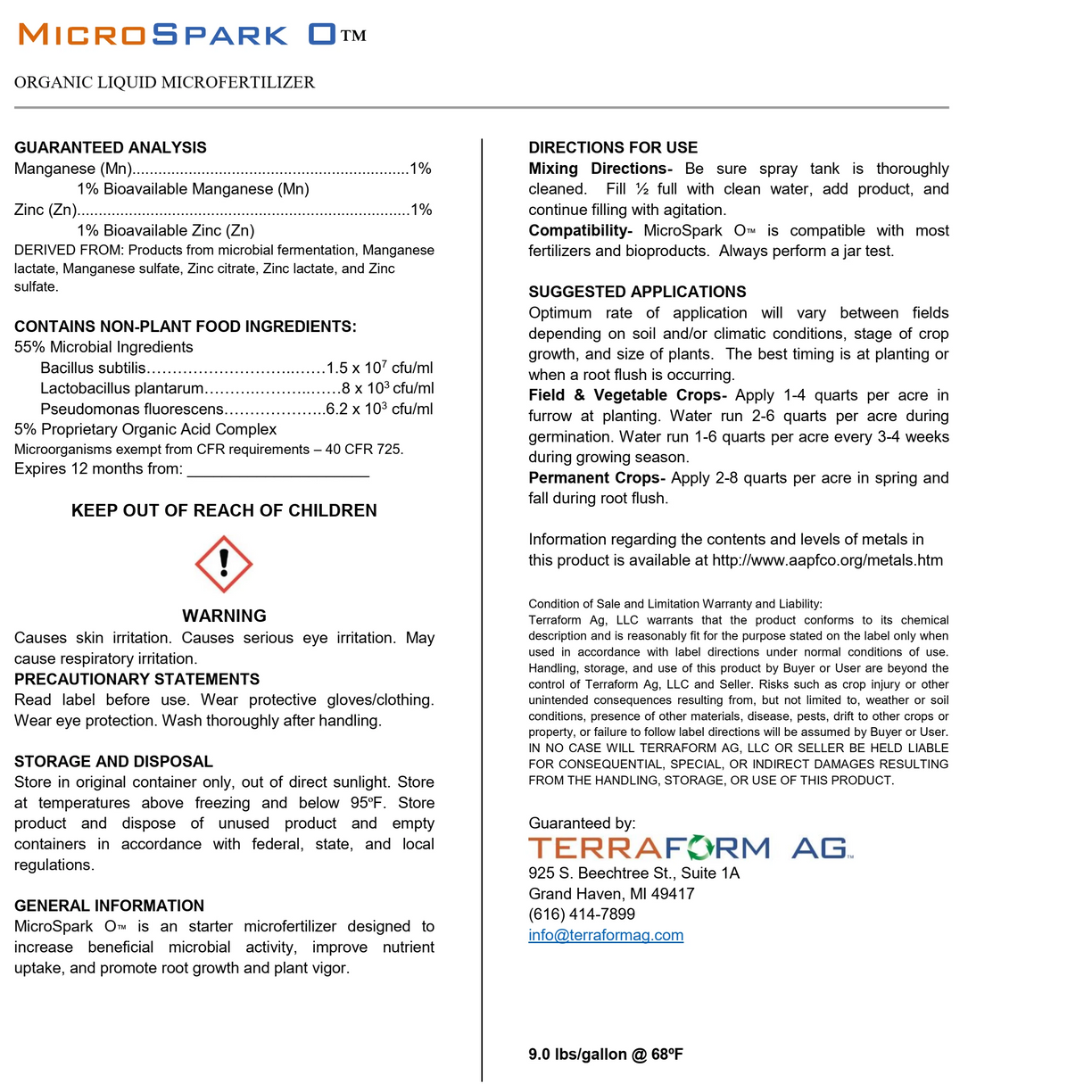 Micro Spark O Microbial inoculate and microfertilizer