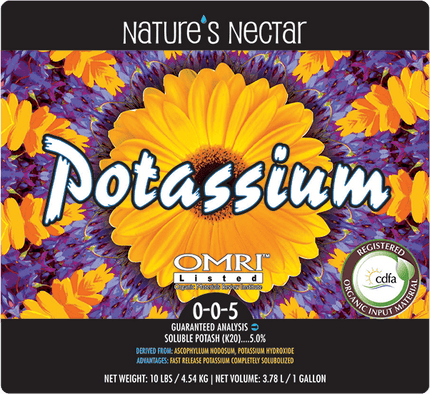 NATURE'S NECTAR POTASSIUM 0-0-5 OMRI listed