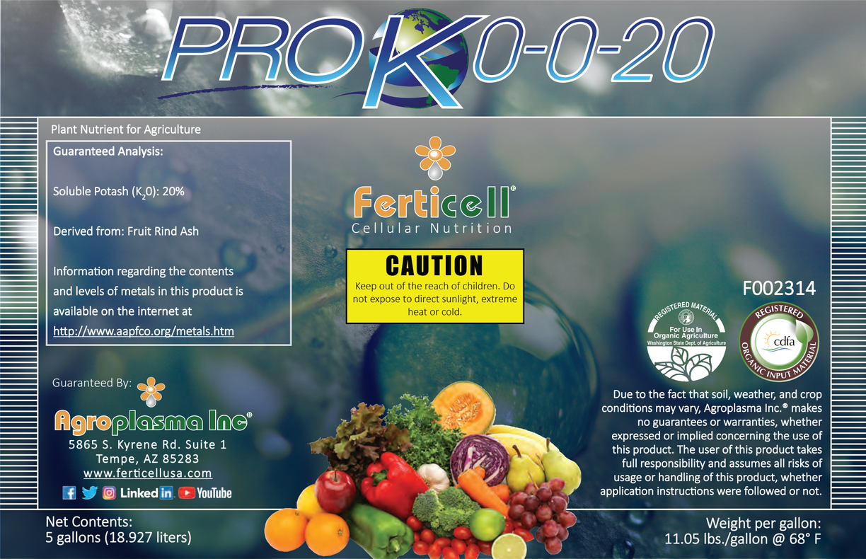 Ferticell Pro K 0-0-20 liquid Potassium WSDA Listed