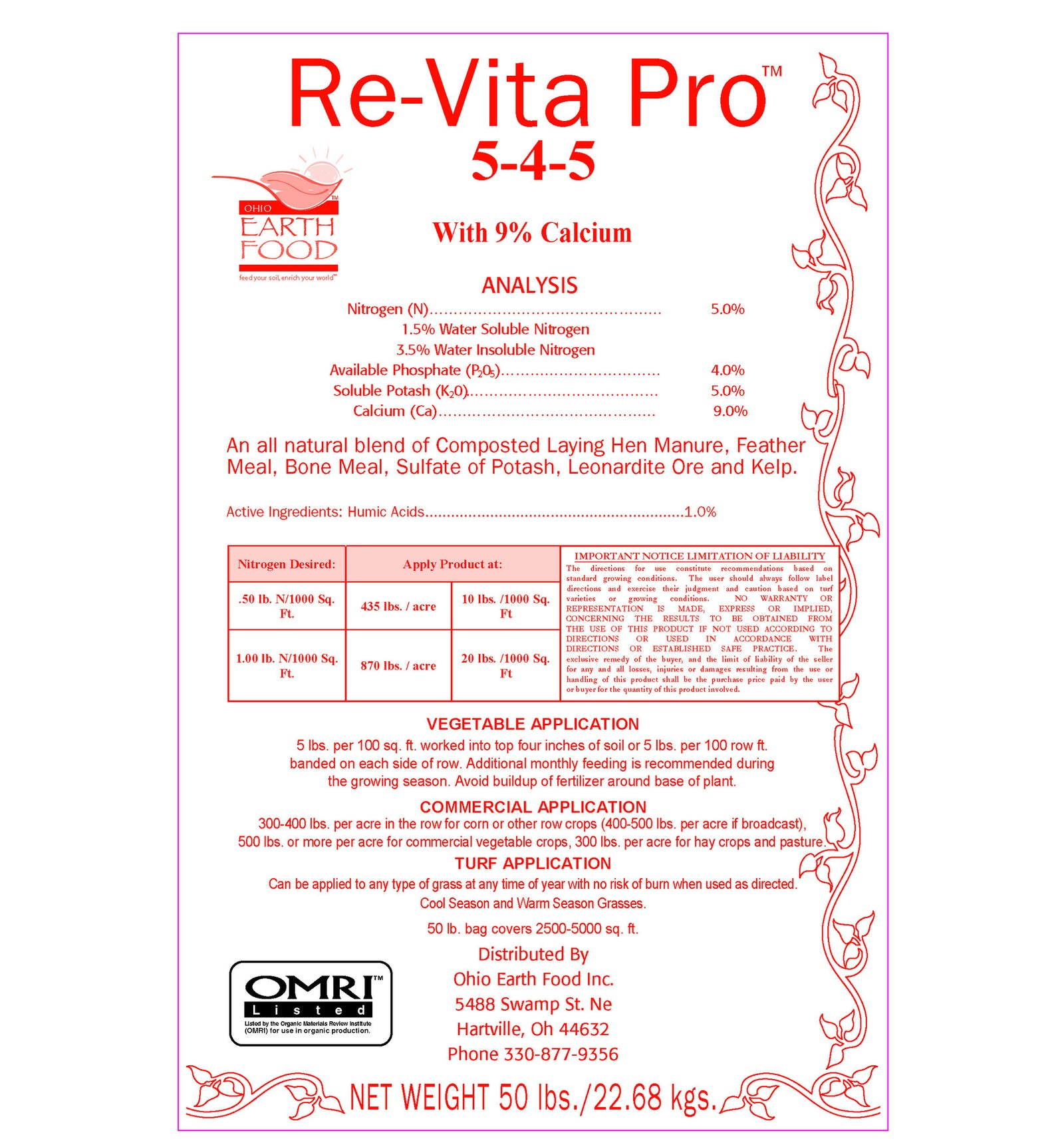 #1 For Commercial Growers Re-Vita Pro (5-4-5)* 50# bag OMRI listed