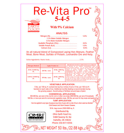 #1 For Commercial Growers Re-Vita Pro (5-4-5) 50# bag OMRI listed