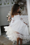 Maya Dress with Lace Sleeves Off White