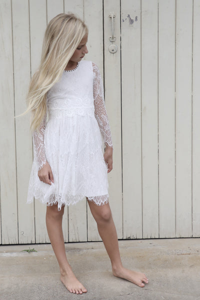 Long sleeved Primrose lace mini dress - SALE