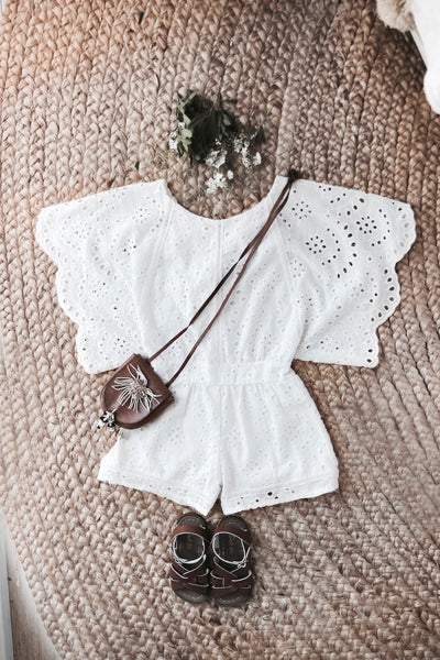 Bondi Broderie Playsuit White - Tea Princess