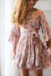 Luna rose pink floral Wrap Mini Dress
