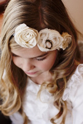 Cream 3 flower headband with vintage style brooch