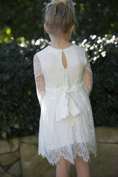 Primrose Lace dress -off white with guipure lace and cotton sash