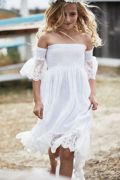 White Maya Dress with lace sleeves