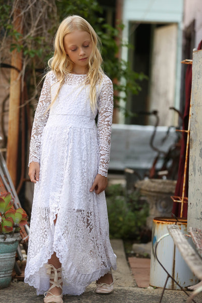 PAISLEY WHITE  LACE MAXI DRESS TWEEN