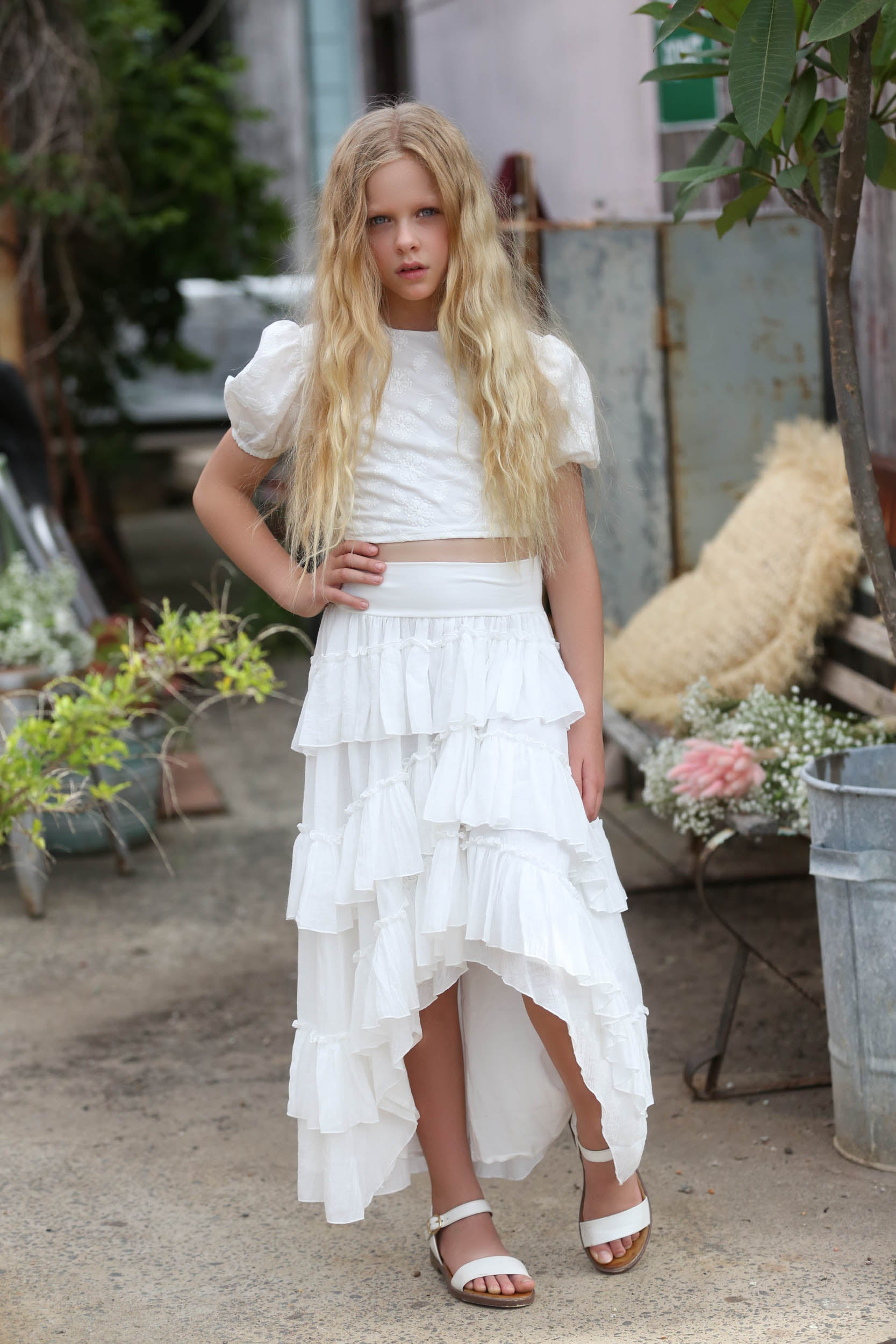 Halo tween Ivory top & skirt two piece set