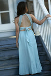 Kaya in teal maxi dress