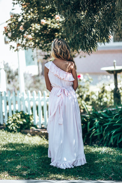 Pink Ocean One Shoulder Dress Tween