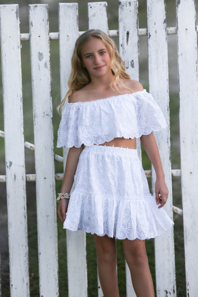 White Tulip Tween high waisted skirt and off the shoulder top -(two piece design)