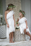 Oceania Offwhite One Shoulder Dress- last ones left- size 6 years