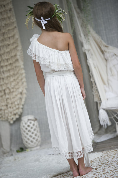 Oceania Offwhite One Shoulder Dress