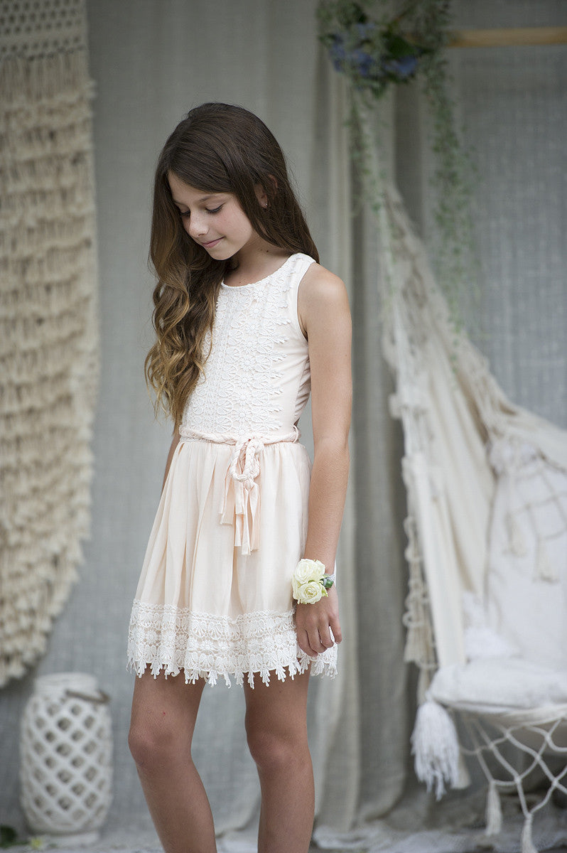 Song Bird Peach Tween Dress - Tea Princess-5382