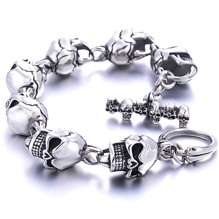 Stainless Steel Skeleton Skull Bracelet For Men