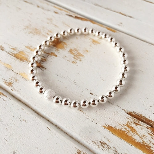Beautiful 5mm Sterling Silver Bracelet with 6mm