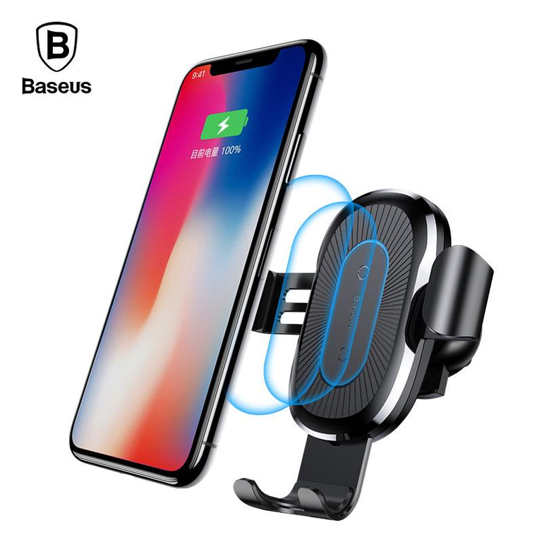 Baseus 10W QI Wireless Charger Car Holder For iPhone X Plus Samsung S8 S9 Fast Car Mount Wireless