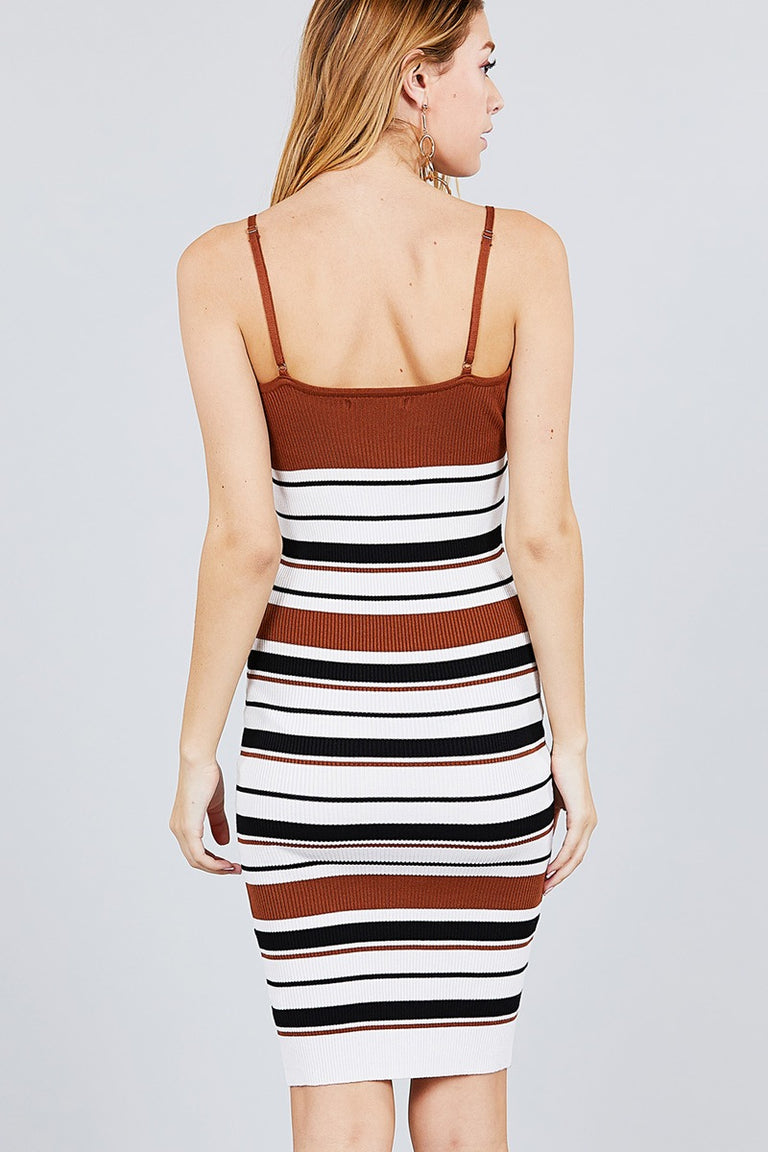 Straight Neck Multi Stripe Cami Mini Sweater Dress