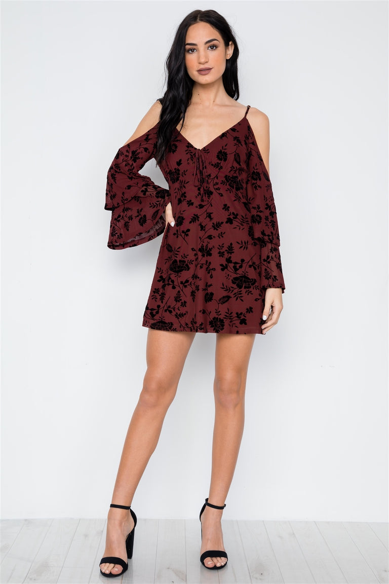 Wine Burnout Velvet Cold Shoulder Tiered Bell Sleeve Mini Dress