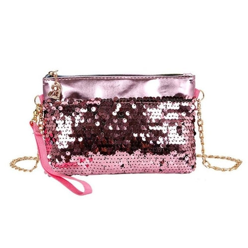 Womens Sequins & Chain Shoulder Bag