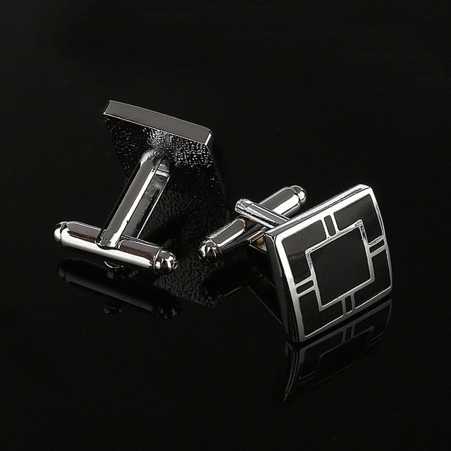 Black Rectangle Cufflinks